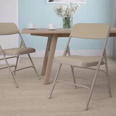 HERCULES Series Curved Triple Braced & Double Hinged Beige Vinyl Metal Folding Chair