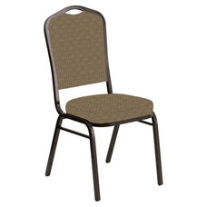 Embroidered Crown Back Banquet Chair in Abbey Latte Fabric - Gold Vein Frame