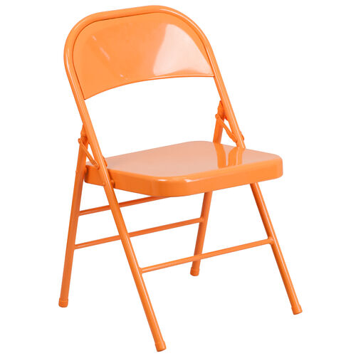 Our HERCULES COLORBURST Series Orange Marmalade Triple Braced & Double Hinged Metal Folding Chair is on sale now.