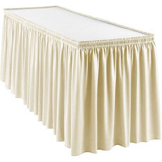Wyndham 13 Foot Shirred Pleat Table Skirt with SnugTight™ Clips - Ivory