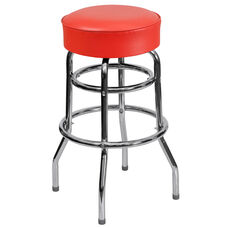 Double Ring Chrome Barstool with Red Vinyl Swivel Seat