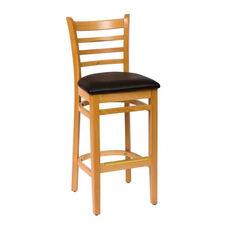 Burlington Natural Wood Ladder Back Barstool - Vinyl Seat