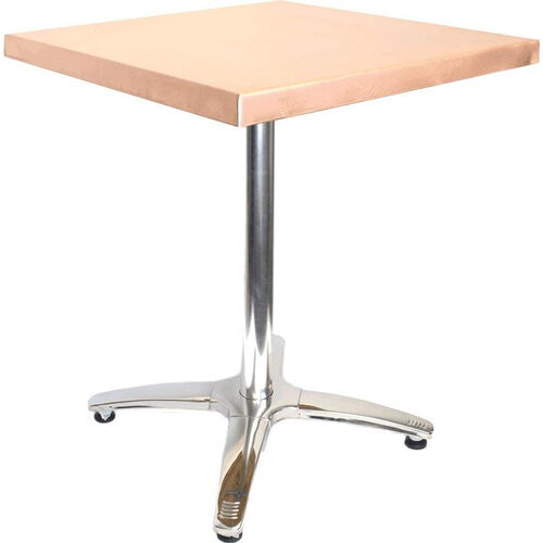 Square Copper Table with Polished Stainless Steel Base - 36