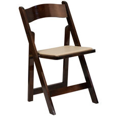 HERCULES Series Fruitwood Wood Folding Chair with Vinyl Padded Seat
