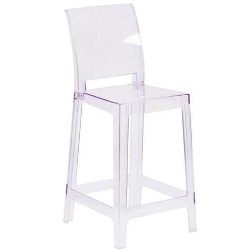Our Ghost Counter Stool with Square Back in Transparent Crystal is on sale now.