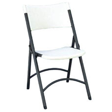 Armless Plastic Folding Chair with Charcoal Steel Frame - Gray Granite Seat and Back