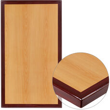 "30"" x 42"" Rectangular 2-Tone High-Gloss Cherry Resin Table Top with 2"" Thick Mahogany Edge"