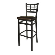 Marietta Metal Window Pane Barstool - Dark Brown Vinyl Seat