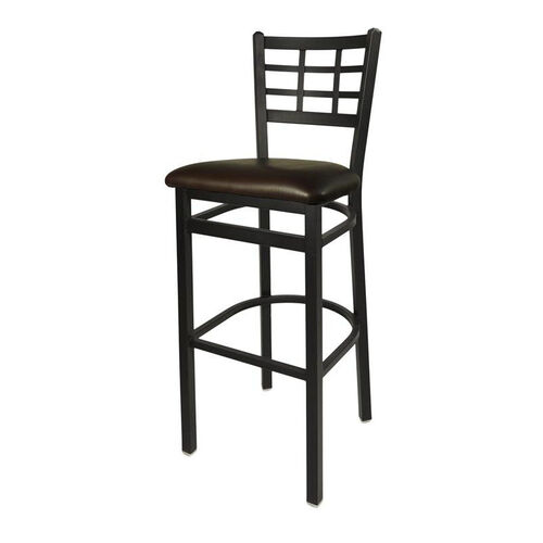 Our Marietta Metal Window Pane Barstool - Dark Brown Vinyl Seat is on sale now.