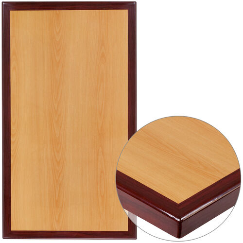"Our 24"" x 42"" Rectangular 2-Tone High-Gloss Cherry Resin Table Top with 2"" Thick Mahogany Edge is on sale now."
