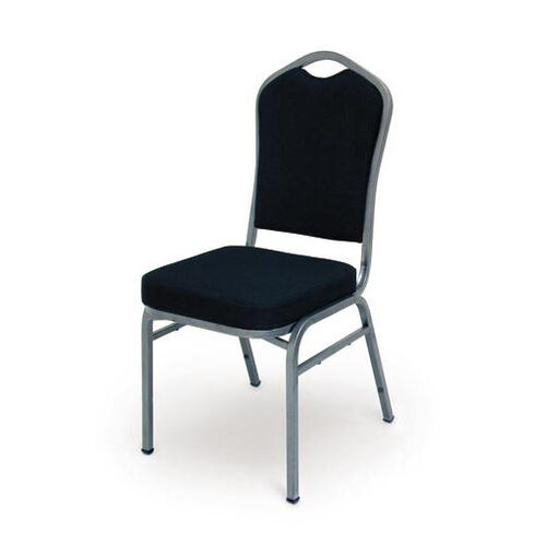 Superb Seating Heavy-Duty Steel Frame Fabric Upholstered Stacking Chair - Black