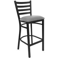 HERCULES Series Black Ladder Back Metal Restaurant Barstool - Custom Upholstered Seat