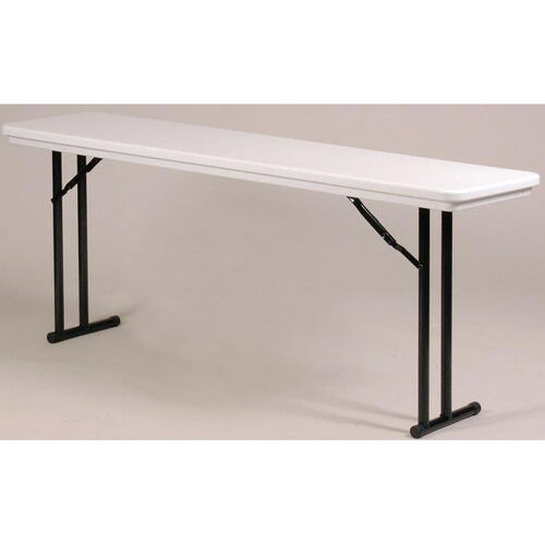 Standard Fixed Height Blow-Molded Plastic Top Rectangular Folding Table - 18