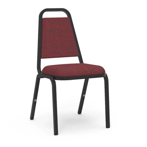 Quick Ship 8900 Series Trapezoid Back Stack Chair with Linen Burgundy Vinyl Upholstery and Black Frame - 18