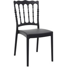 Napoleon Outdoor Resin Stackable Wedding Chair - Black
