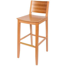 Oxford Solid Wood Armless Barstool with Tigerwood Seat and Back - Natural
