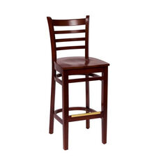Burlington Mahogany Wood Ladder Back Barstool - Wood Seat