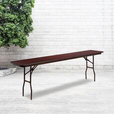 8-Foot Mahogany Melamine Laminate Folding Training Table