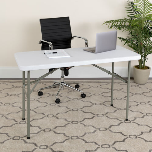 Our 4-Foot Granite White Plastic Folding Table is on sale now.