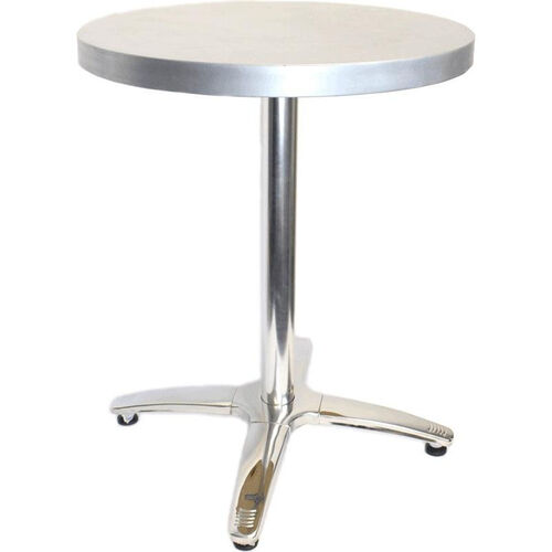 Our Round Zinc Cafe Table with Stainless Steel Base - 30