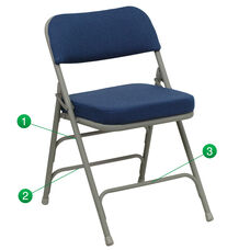 HERCULES Series Premium Curved Triple Braced & Double Hinged Navy Fabric Metal Folding Chair