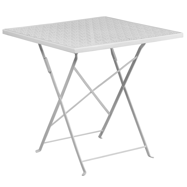28u0027u0027 Square White Indoor Outdoor Steel Folding Patio Table