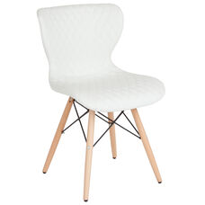 Riverside Contemporary Upholstered Chair with Wooden Legs in White Vinyl
