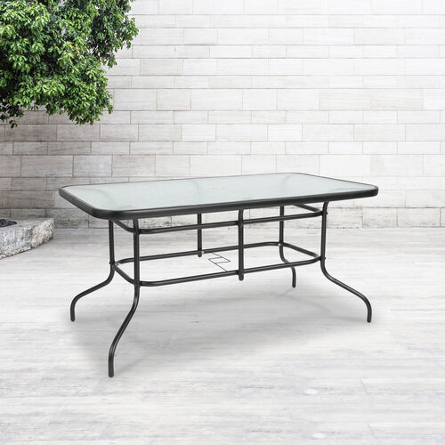 """Our 31.5"""" x 55"""" Rectangular Tempered Glass Metal Table is on sale now."""