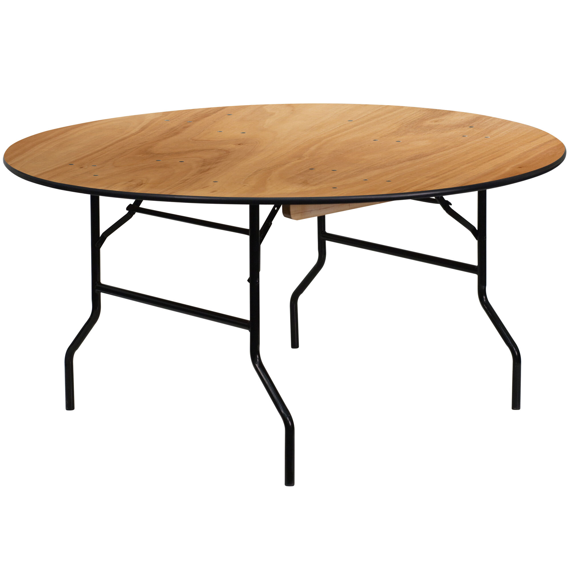 Astounding 5 Foot Round Wood Folding Banquet Table With Clear Coated Finished Top Download Free Architecture Designs Xoliawazosbritishbridgeorg