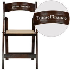 Personalized HERCULES Series Fruitwood Wood Folding Chair with Vinyl Padded Seat