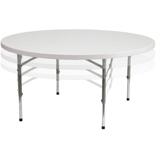 Our 5-Foot Round Height Adjustable Granite White Plastic Folding Table is on sale now.