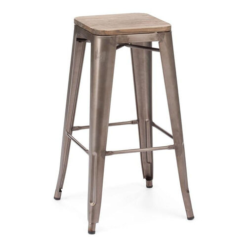 Marius Bar Chair in Rustic Wood