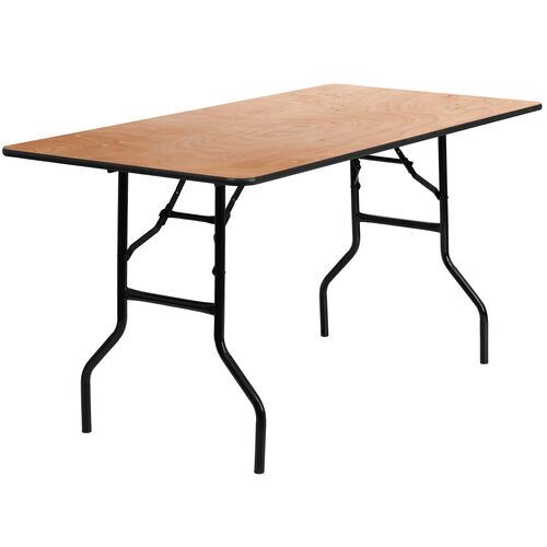 Our 5-Foot Rectangular Wood Folding Banquet Table with Clear Coated Finished Top is on sale now.