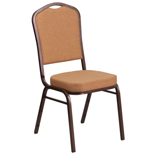Our HERCULES Series Crown Back Stacking Banquet Chair in Light Brown Fabric - Copper Vein Frame is on sale now.