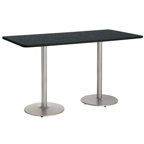 "Our 36""W x 96""D Rectangular Laminate Bistro Height Pedestal Table with Graphite Nebula Top - Silver Round Base is on sale now."