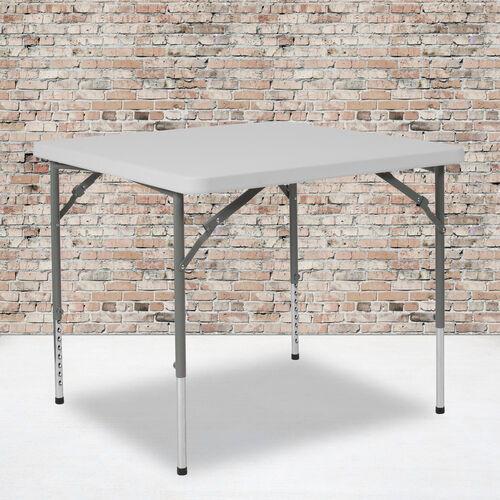 Our 2.79-Foot Square Height Adjustable Granite White Plastic Folding Table is on sale now.