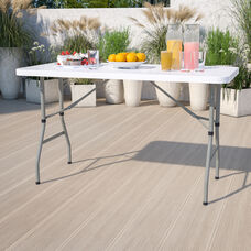 4.93-Foot Height Adjustable Granite White Plastic Folding Table