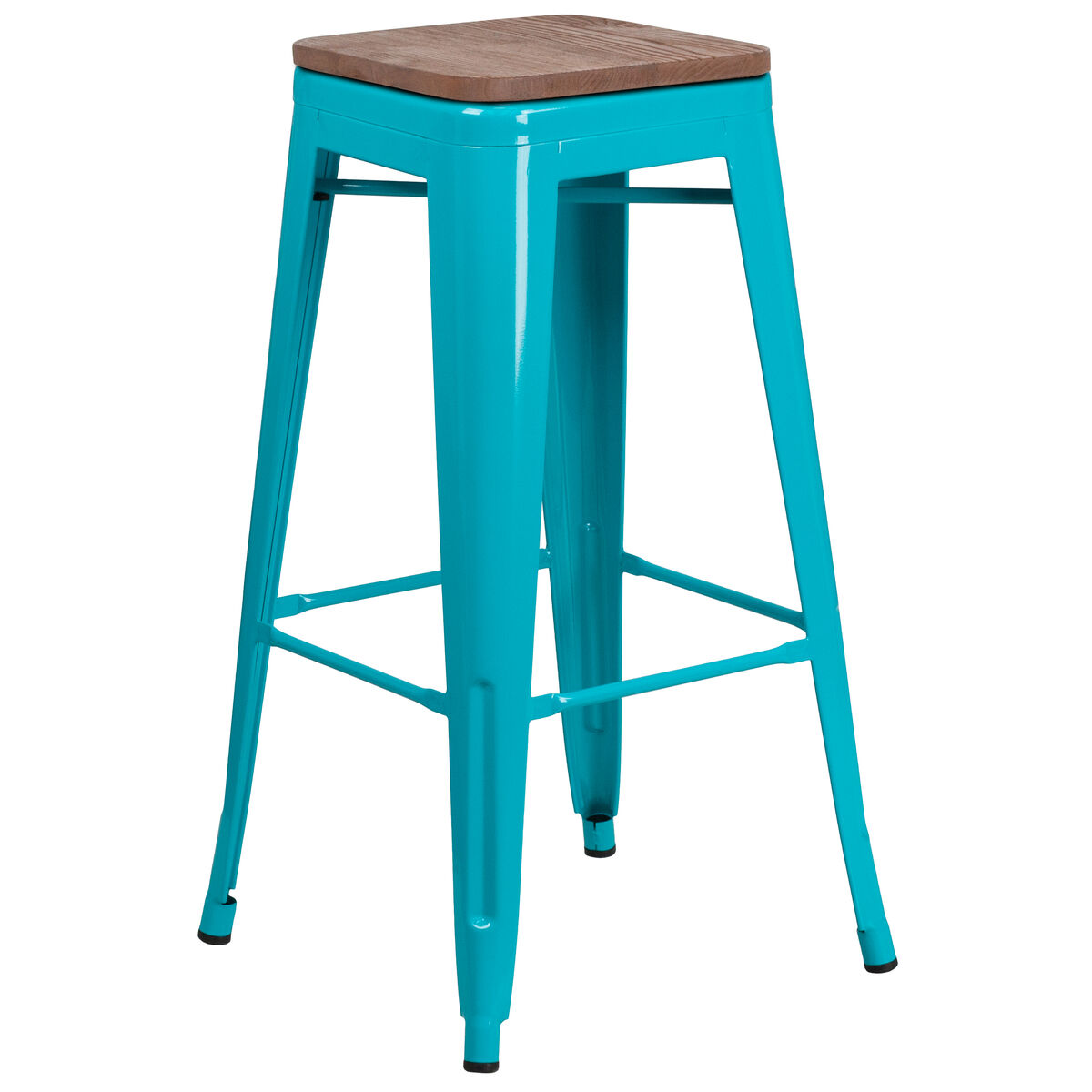 Pleasant 30 High Backless Crystal Teal Blue Barstool With Square Wood Seat Uwap Interior Chair Design Uwaporg