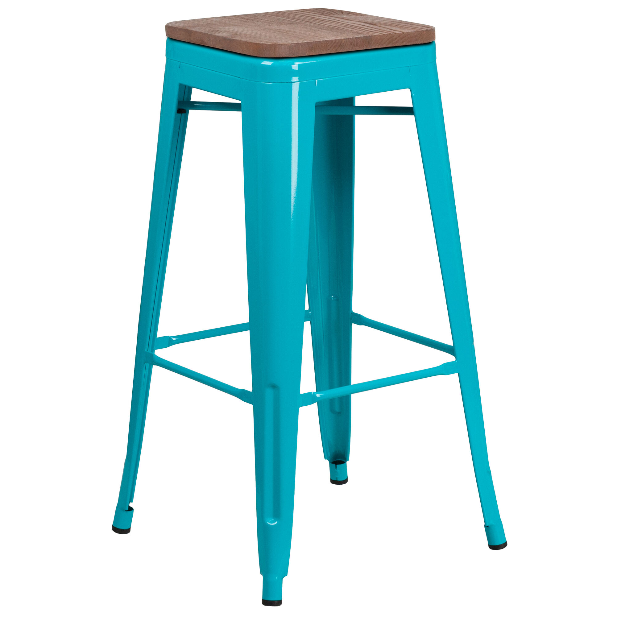 Incredible 30 High Backless Crystal Teal Blue Barstool With Square Wood Seat Onthecornerstone Fun Painted Chair Ideas Images Onthecornerstoneorg
