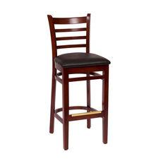 Burlington Mahogany Wood Ladder Back Barstool - Vinyl Seat