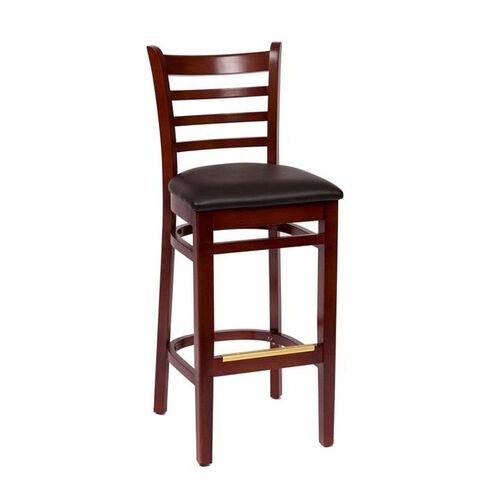 Our Burlington Mahogany Wood Ladder Back Barstool - Vinyl Seat is on sale now.