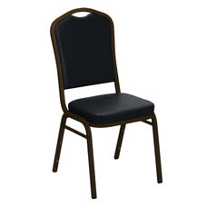 Embroidered Crown Back Banquet Chair in E-Z Madrid Blue Vinyl - Gold Vein Frame