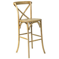 Rustic Sonoma Solid Wood Cross Back Barstool - Tinted Raw