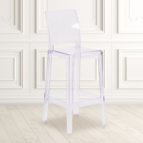 Our Ghost Barstool with Square Back in Transparent Crystal is on sale now.