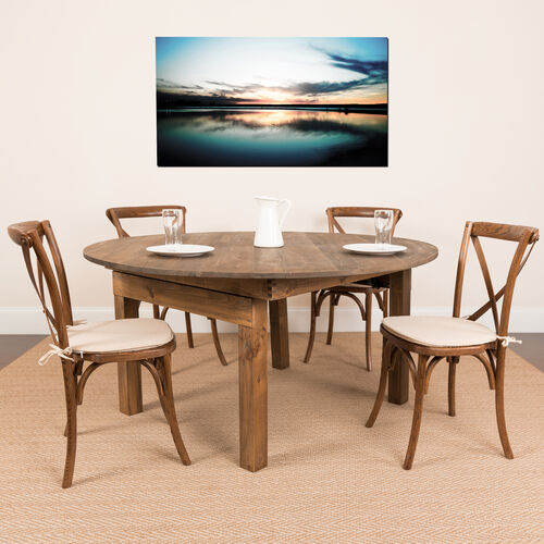HERCULES Series Round Dining Table | Farm Inspired, Rustic & Antique Pine Dining Room Table