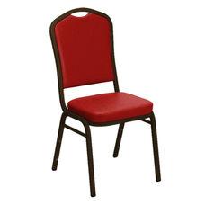 Embroidered Crown Back Banquet Chair in E-Z Sierra Red Vinyl - Gold Vein Frame