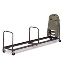 Single Level Powder Coated Steel Folding Chair Caddy with Casters - 21''W x 64''L x 38.5''H