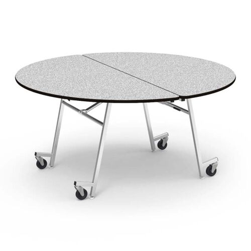 Our MT Series Round Mobile Gray Nebula Laminate Top Folding Table with Chrome Frame - 60