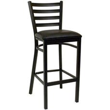 Quick Ship Thick Ladder Back Armless Barstool - Black Vinyl Seat