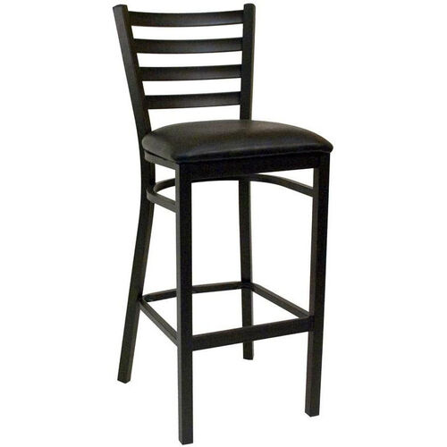 Our Quick Ship Thick Ladder Back Armless Barstool - Black Vinyl Seat is on sale now.